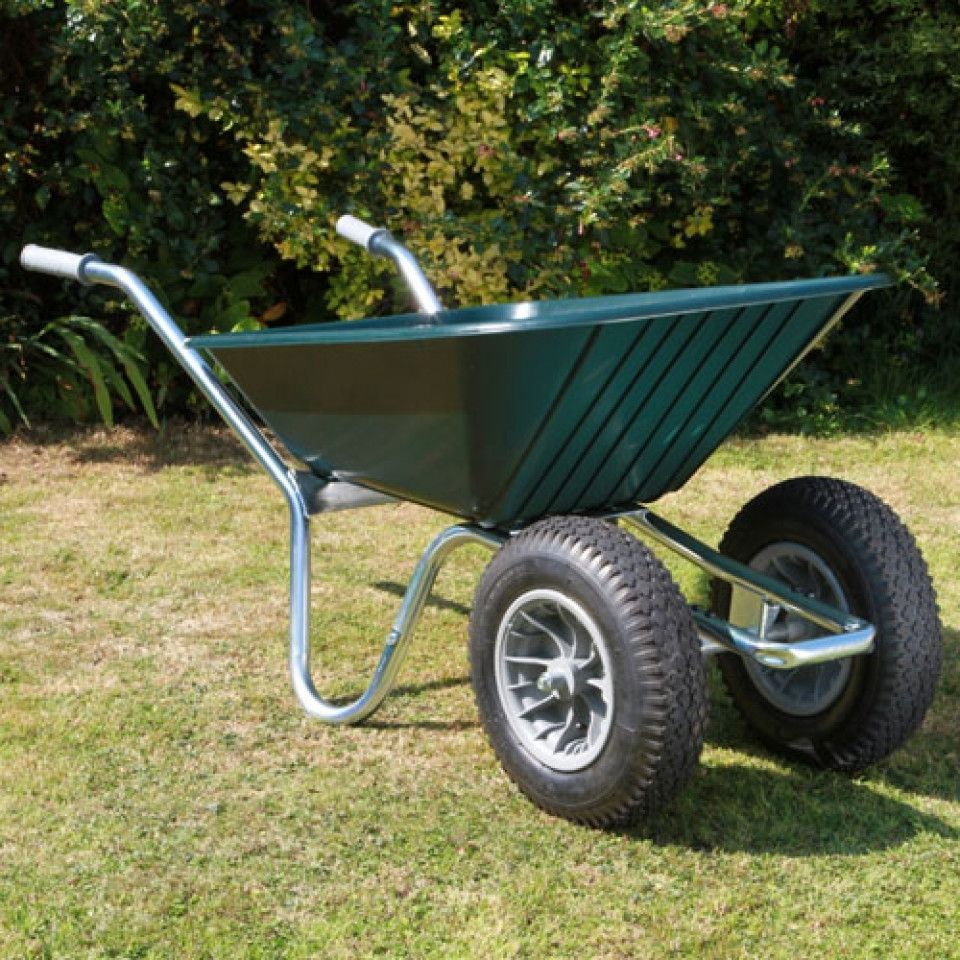 County Duo Clipper Wheelbarrow Green | Twin Wheel Wheelbarrow