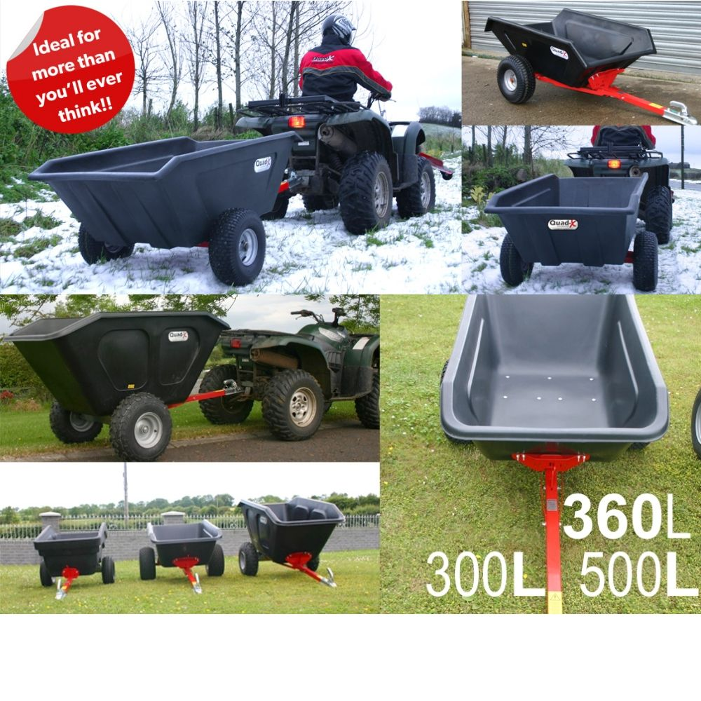 Plastic Tipping Quad Trailer  | 3 sizes Quad-X Trailers