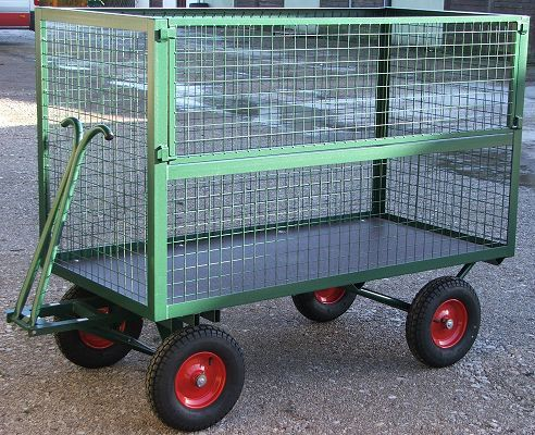 Turntable Truck With High Mesh Cage & Half Hinge Door