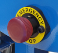 Pedestrian controlled vehicle emergency stop button
